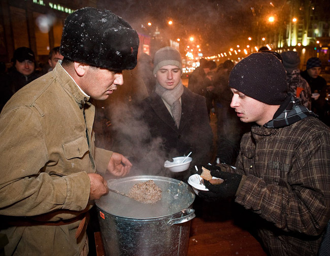 Buckwheat porridge in Moscow streets