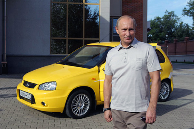 Putin promotes Lada Kalina cars